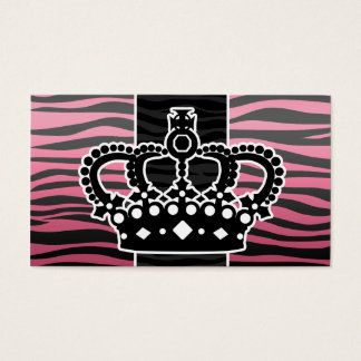 Girly princess pink and black zebra print business card