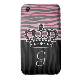 Girly princess pink and black zebra print iPhone 3 Case-Mate case