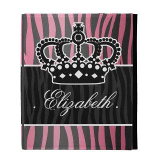 Girly princess pink and black zebra print iPad cases