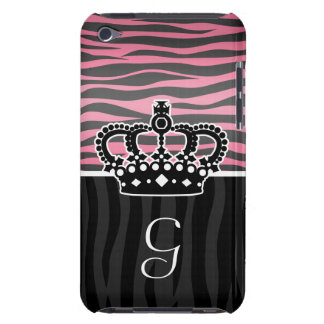 Girly princess pink and black zebra print monogram iPod touch Case-Mate case