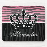 Girly princess pink and black zebra print mousepads
