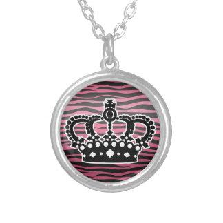 Girly princess pink and black zebra print custom necklace