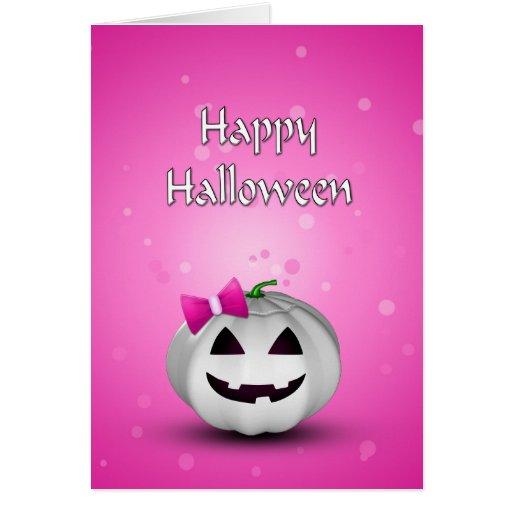 Girly Pumpkin Halloween - Greeting Card