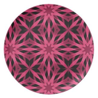 Girly punk goth hot pink geometric flower pattern dinner plates