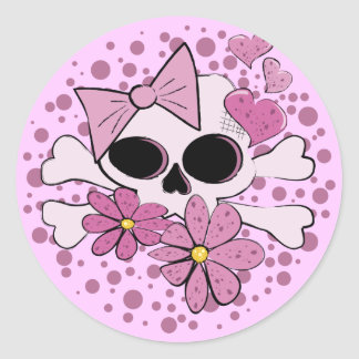 Girly Punk Skull Round Sticker