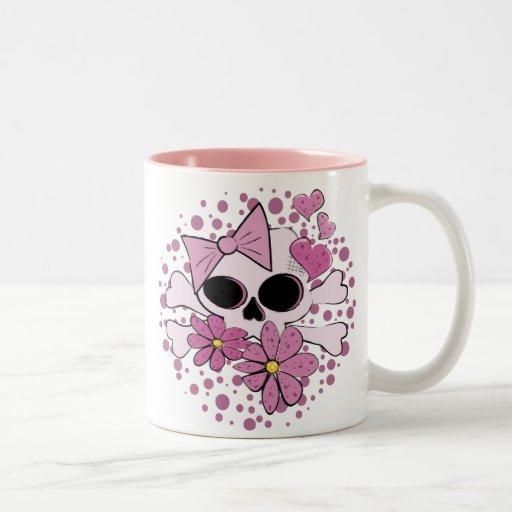 Girly Punk Skull Two-Tone Coffee Mug