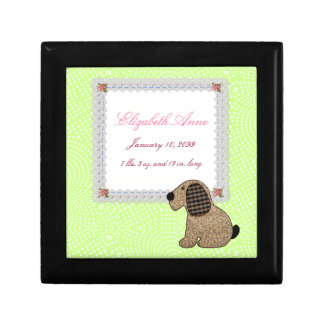 Girly Puppy Dog Baby Girl Birth Announcement Small Square Gift Box
