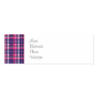 Girly Purple and Pink Plaid Pattern Gifts for Her Pack Of Skinny Business Cards