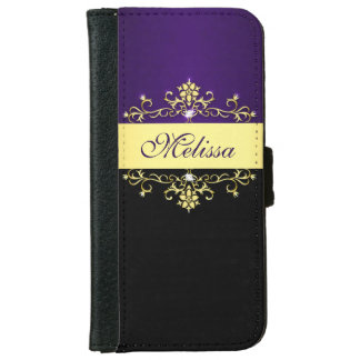 Girly Purple Black and Gold iPhone 6 Wallet Case