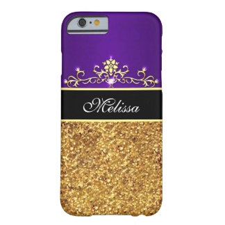 Girly Purple Black Gold Glitter iPhone 6 Case Barely There iPhone 6 Case