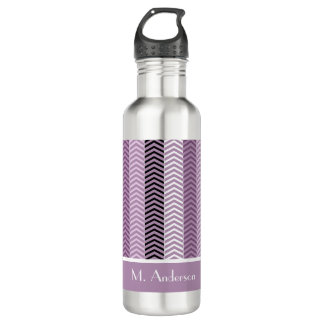 Girly Purple Chevron Stripes Pattern With Name 710 Ml Water Bottle
