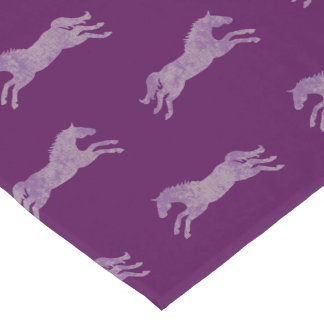 Girly Purple Classic Equestrian Horses Long Table Runner