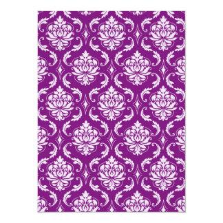 Girly Purple Damask Pattern Invite
