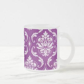 Girly Purple Damask Pattern Coffee Mug