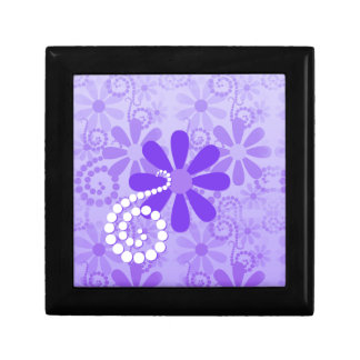 Girly Purple Floral Retro Flowers Small Square Gift Box