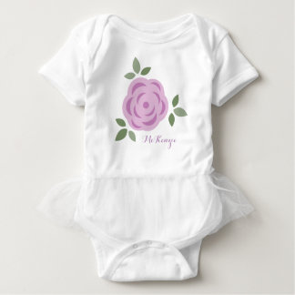 Girly Purple Flower Baby Bodysuit