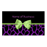 Girly Purple Giraffe Print With Cute Green Ribbon