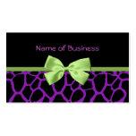 Girly Purple Giraffe Print With Cute Green Ribbon Business Card Template