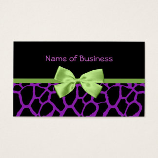Girly Purple Giraffe Print With Cute Green Ribbon Business Card