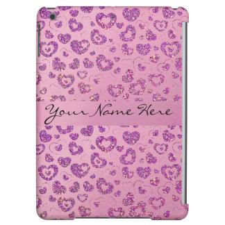 Girly Purple Glitter Heart Pattern on Pink