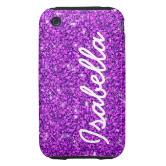 GIRLY PURPLE GLITTER PRINTED PERSONALIZED TOUGH iPhone 3 COVER
