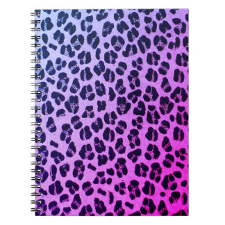 Girly Purple Leopard Print Custom Notebook