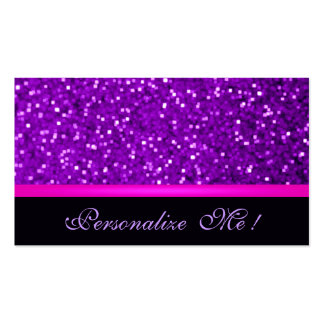 Girly Purple Modern Sparkle Pink Glitter Elegant Double-Sided Standard Business Cards (Pack Of 100)