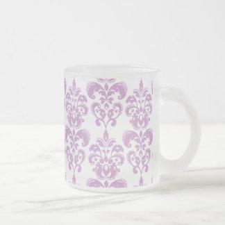 Girly Purple White Vintage Damask Pattern 2 Frosted Glass Mug
