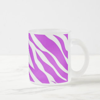 Girly Purple White Zebra Stripes Wild Animal Print Frosted Glass Coffee Mug