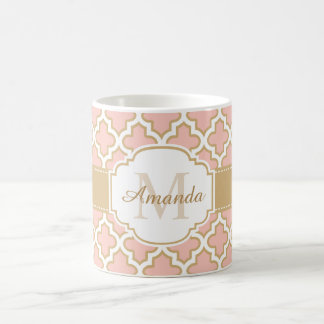 Girly Quatrefoil Moroccan Pink Coral Monogram Coffee Mug