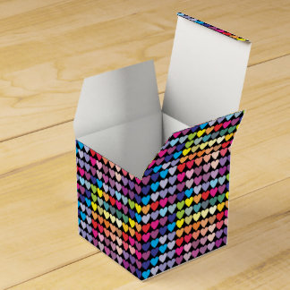 Girly Rainbow Colorful Hearts Pattern Favour Box