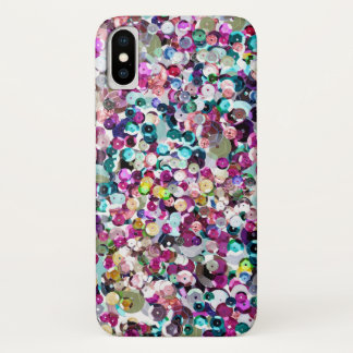 Girly Rainbow Faux Sequins Bling iPhone X Case