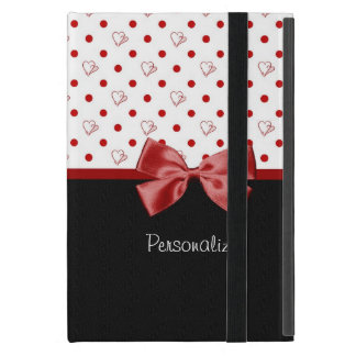 Girly Red and Black Polka Dot Hearts Bow With Name iPad Mini Case