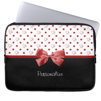 Girly Red and Black Polka Dot Hearts Bow With Name Laptop Sleeve