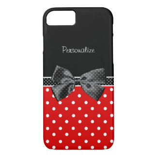 Girly Red and Black Polka Dots With Bow and Name iPhone 8/7 Case