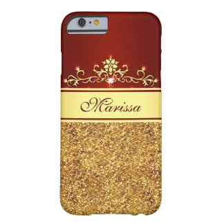 Girly Red and Gold Glitter iPhone 6 Case Barely There iPhone 6 Case