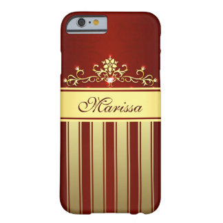 Girly Red and Gold Stripes iPhone 6 Case Barely There iPhone 6 Case