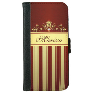 Girly Red and Gold Stripes iPhone 6 Wallet Case
