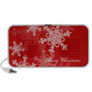 Girly red and white Christmas snowflakes PC Speakers