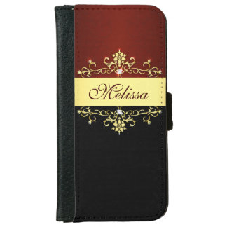 Girly Red Black and Gold iPhone 6 Wallet Case