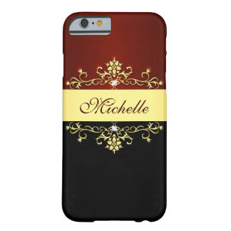 Girly Red Black Gold Barely There iPhone 6 Case