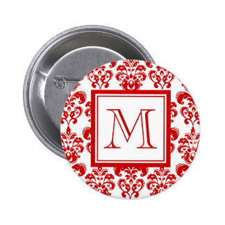 GIRLY RED DAMASK PATTERN 2 YOUR INITIAL 6 CM ROUND BADGE
