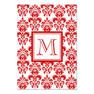 GIRLY RED DAMASK PATTERN 2 YOUR INITIAL 9 CM X 13 CM INVITATION CARD