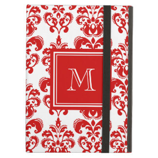 GIRLY RED DAMASK PATTERN 2 YOUR INITIAL CASE FOR iPad AIR