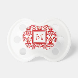 GIRLY RED DAMASK PATTERN 2 YOUR INITIAL BABY PACIFIERS
