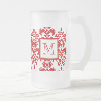 GIRLY RED DAMASK PATTERN 2 YOUR INITIAL FROSTED GLASS MUG