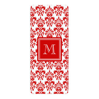 """GIRLY RED DAMASK PATTERN 2 YOUR INITIAL 4"""" X 9.25"""" INVITATION CARD"""