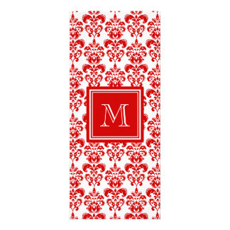 GIRLY RED DAMASK PATTERN 2 YOUR INITIAL PERSONALIZED INVITES