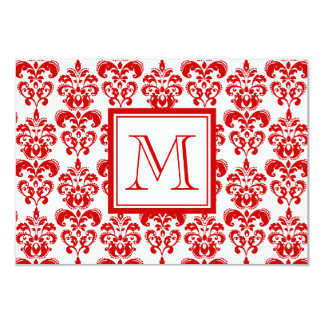 GIRLY RED DAMASK PATTERN 2 YOUR INITIAL 3.5X5 PAPER INVITATION CARD