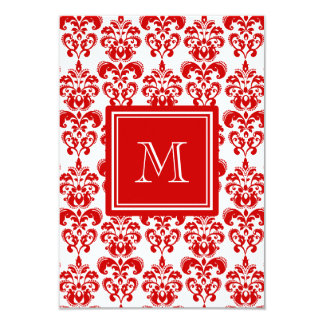 "GIRLY RED DAMASK PATTERN 2 YOUR INITIAL 3.5"" X 5"" INVITATION CARD"